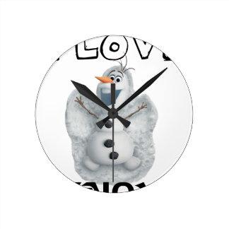 Relógio Redondo Eu amo a neve