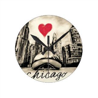 Relógio Redondo Eu amo Chicago
