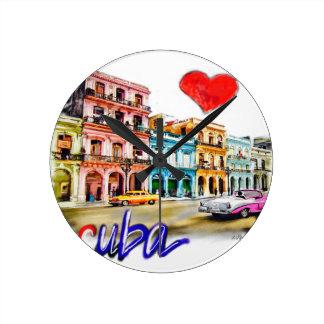Relógio Redondo Eu amo Cuba