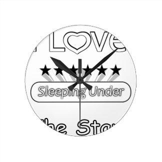 Relógio Redondo Eu amo dormir sob as estrelas