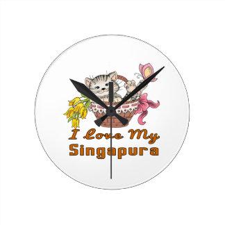 Relógio Redondo Eu amo meu Singapura