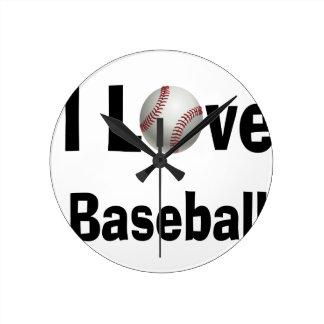 Relógio Redondo Eu amo o basebol