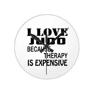 Relógio Redondo Eu amo o judo porque a terapia é cara