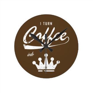 Relógio Redondo Eu transformo o café em KOMs