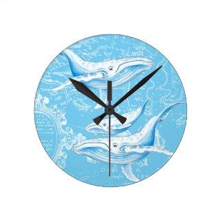 Relógio Redondo Família das baleias azuis