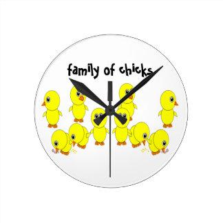 Relógio Redondo família dos pintinhos