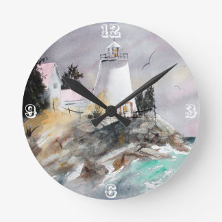 Relógio Redondo Farol no pulso de disparo rochoso da costa
