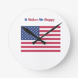 Relógio Redondo Faz-me a bandeira americana feliz