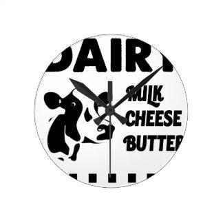 Relógio Redondo Fazenda de leiteria fresca, manteiga do queijo do