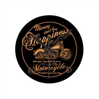 Relógio Redondo Felicidade - motocicleta