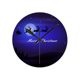 Relógio Redondo Feliz Natal da lua do trenó do papai noel