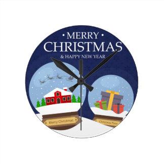 Relógio Redondo Feliz Natal e globo da neve do feliz ano novo