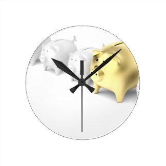 Relógio Redondo Fileira com mealheiros
