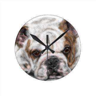Relógio Redondo Filhote de cachorro do buldogue