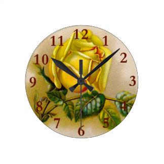 Relógio Redondo Flor amarela antiga cor-de-rosa