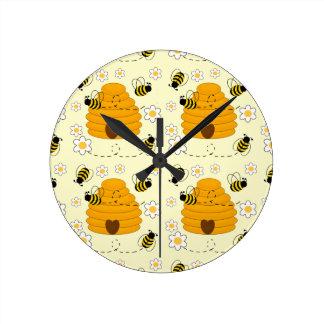 Relógio Redondo Flor floral da margarida do amarelo da colmeia do