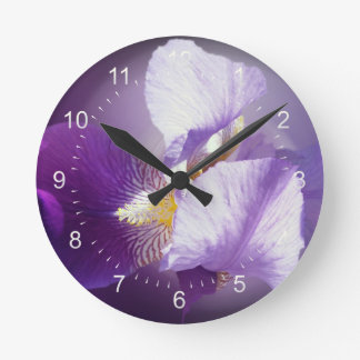 Relógio Redondo flor roxa da íris