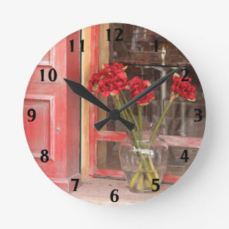 Relógio Redondo Flor vermelha francesa