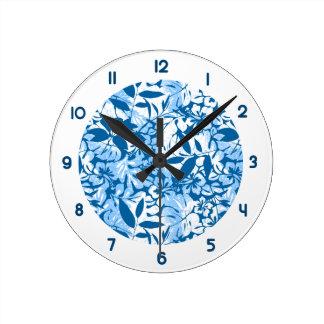 Relógio Redondo Floral azul afligido tropical