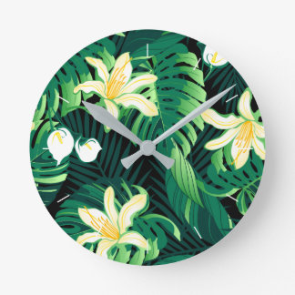 Relógio Redondo Floral luxúria tropical