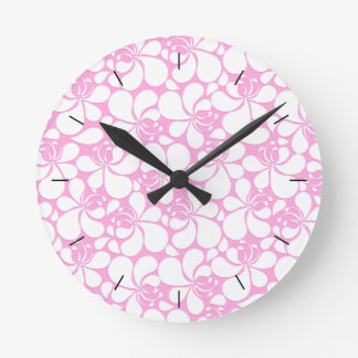 Relógio Redondo Floral tropical do rosa e o branco