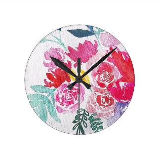 Relógio Redondo Flores da aguarela