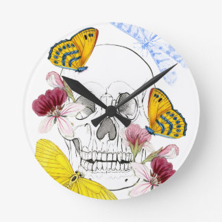 Relógio Redondo Flores de esqueleto