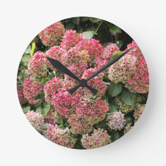 Relógio Redondo Flores de um hydrangea do francês (macrophyl do