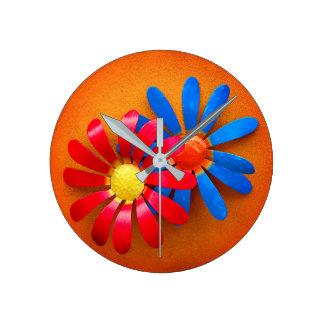 Relógio Redondo Flores do jardim do metal