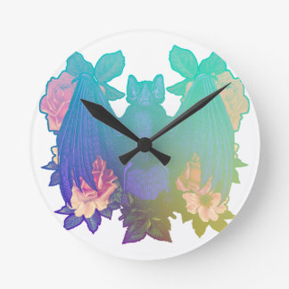 Relógio Redondo Flores e bastões