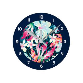 Relógio Redondo Flores tropicais coloridas