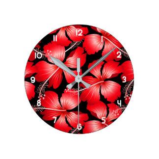 Relógio Redondo Flores vermelhas do hibiscus