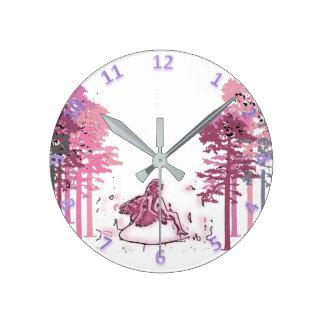 Relógio Redondo Floresta feericamente da hora mágica