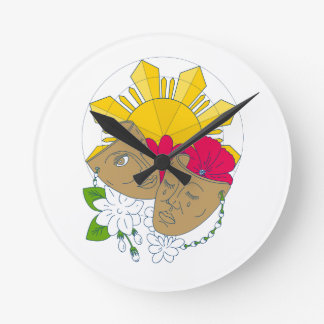 Relógio Redondo Fluxo filipino de Sampaguita do hibiscus de Sun da