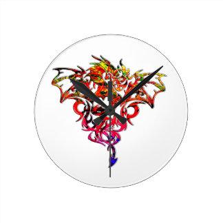Relógio Redondo Fogo abstrato que respira o dragão tribal