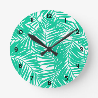Relógio Redondo Folhas de palmeira verdes tropicais