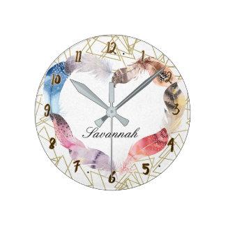 Relógio Redondo Forma do ouro & costume geométricos do coração da