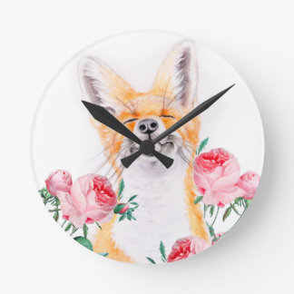 Relógio Redondo Foxy feliz e rosas