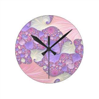 Relógio Redondo Fractal brilhante dos Pastels