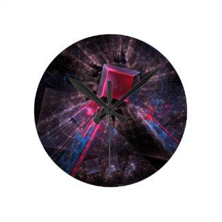 Relógio Redondo Fractal cor-de-rosa
