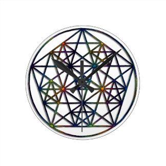 Relógio Redondo Fractal sagrado da geometria da abundância da vida