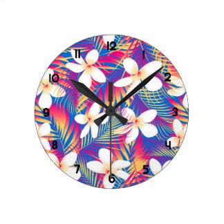 Relógio Redondo Frangipani tropical do arco-íris