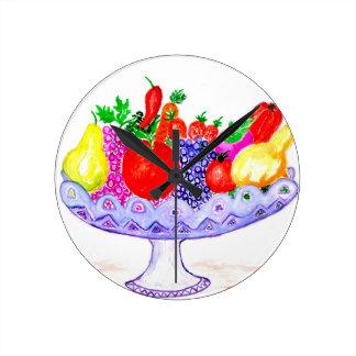 Relógio Redondo Fruta na arte do vaso