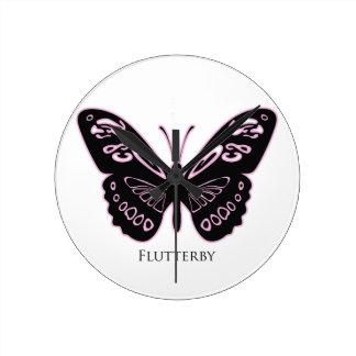 Relógio Redondo Fulgor cor-de-rosa preto de Flutterby