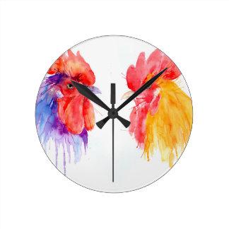 Relógio Redondo galos do retrato dois do galo da aguarela