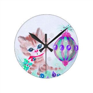 Relógio Redondo Gatinho retro do Natal