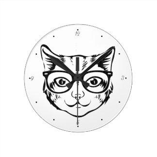 Relógio Redondo Gato branco preto do hipster