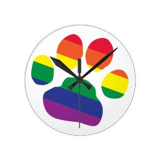 Relógio Redondo Gay-Orgulho-Pata-Impressão