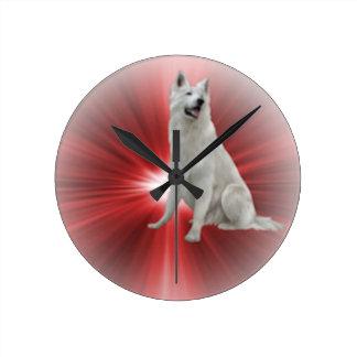 Relógio Redondo German shepherd branco