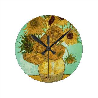 Relógio Redondo Girassóis de Vincent van Gogh |, 1888
